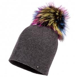 Jamiks KLARA I czapka dla dziewczynki z pomponem grafit