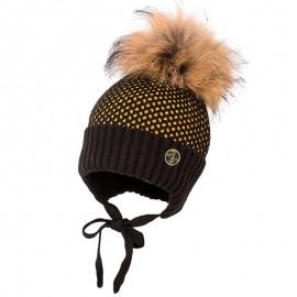 Jamiks JĘDRZEJ I czapka dla chłopaka z pomponem czarny/miodowy