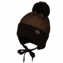 Jamiks JĘDRZEJ IV czapka dla chłopaka z pomponem czarny/miodowy