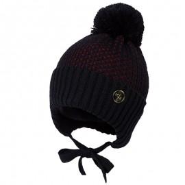 Jamiks JĘDRZEJ IV czapka dla chłopaka z pomponem granat/czerwony