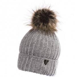 Jamiks JACEK II czapka dla chłopaka z pomponem popiel