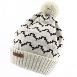 Pupill czapka z pomponem chłopięca DOMINO beż