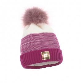Pupill czapka z pomponem dziewczęca NOA amarant