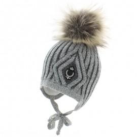 Jamiks JOVAN II czapka chłopięca z pomponem popiel