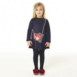 iDO Bawełniana sukiennka dla dziewczynki K651-3854 granat
