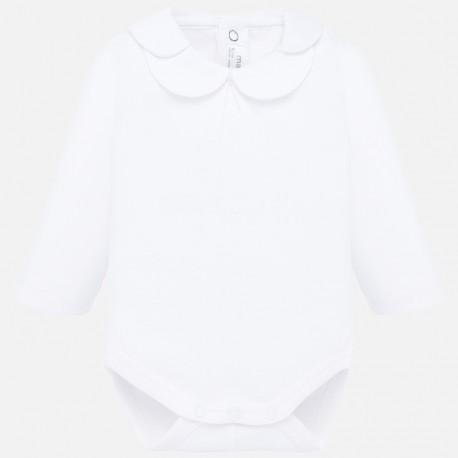 Body bawełniane z kołnierzykiem dla dziewczynki Mayoral 2728-20 Biały