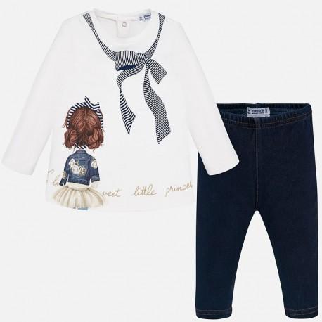 Komplet bluzka i leginsy dla dziewczynki Mayoral 2740-95 Granatowy