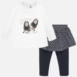 Komplet bluzka i leginsy ze spódnicą dla dziewczynki Mayoral 2748-86 Granatowy