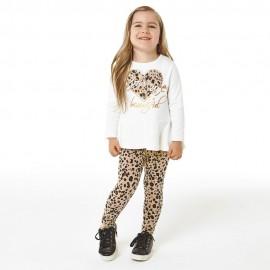 iDO Zestaw bluzka i legginsy dla dziewczynek K675-8138 krem