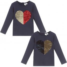 iDO Bluzka bawełniana z cekinami dla dziewczynek K605-3854 granat