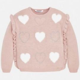 Sweter z falbanką dla dziewczynki Mayoral 4304-38 róż