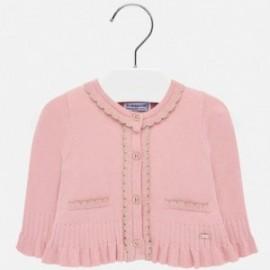 Sweter rozpinany dzianinowy z falbankami dla dziewczynki Mayoral 2315-36 Różowy