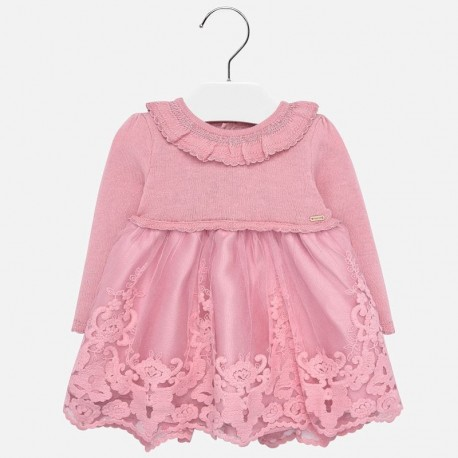 Sukienka trykotowa z tiulem dla dziewczynki Mayoral 2909-88 Różowy