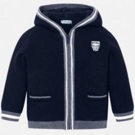 Sweter z kapturem ocieplany trykot na podszewce dla chłopca Mayoral 4323-11 Granatowy