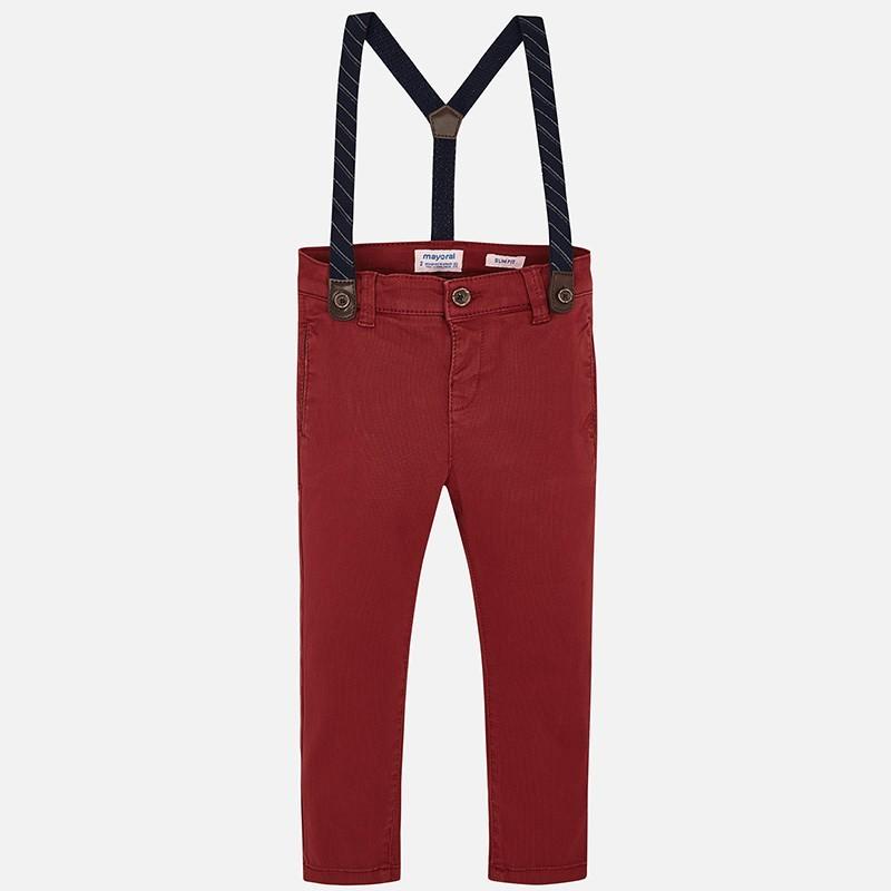 Spodnie eleganckie z szelkami chłopięce Mayoral 4522-27 bordo