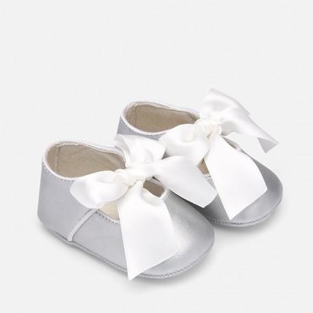 Buciki baleriny na pasku błyszczące dla dziewczynki Mayoral 9214-95 Srebrny