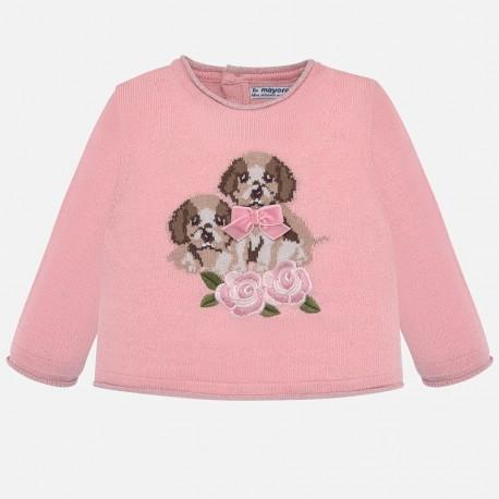 Sweter z haftem dla dziewczynki Mayoral 2312-65 różowy