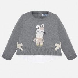 Sweter z haftem dla dziewczynki Mayoral 2314-39 szary