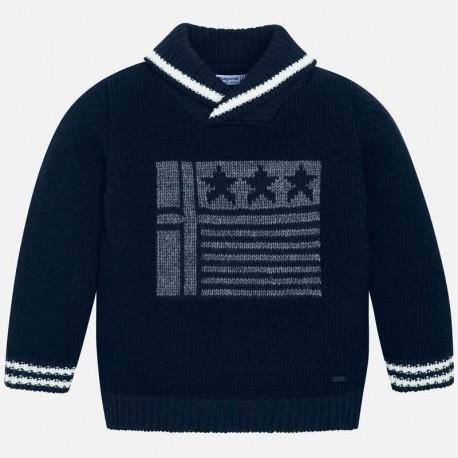 Sweter z kołnierzem szalowym dla chłopca Mayoral 4317-93 granat