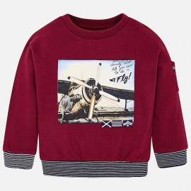 Bluza sportowa z nadrukiem samolot dla chłopca Mayoral 4426-47 bordo