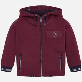 Bluza bawełniana sportowa z kapturem dla chłopca Mayoral 4456-97 bordo