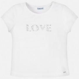 Koszulka z krótkim rękawem dla dziewczynki Mayoral 854-92 biała