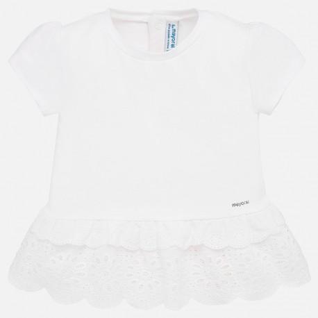 Koszulka z krótkim rękawem dla dziewczynki Mayoral 1062-16 biała