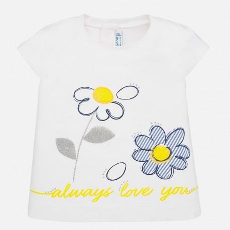 Koszulka z krótkim rękawem dla dziewczynki Mayoral 1063-87 biała
