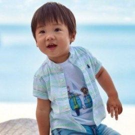 Koszula w paseczki na stójce dla chłopczyka Mayoral 1161-81 jabłkowy