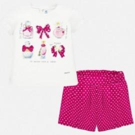 Komplet koszulka i bermudy dziewczęcy Mayoral 1211-96 Czerwony