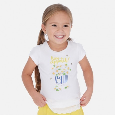 Koszulka dziewczęca Mayoral 3013-41 Biel-żółty