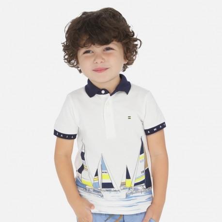 Polo z nadrukiem chłopięce Mayoral 3149-37 Biały