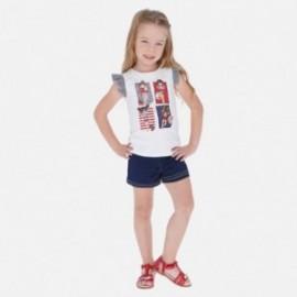 Komplet bluzka i szorty dla dziewczynki Mayoral 3289-69 biały