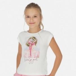 Koszulka z krótkim rękawem dziewczęca Mayoral 6002-77 Biel-różowy