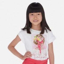 Koszulka z krótkim rękawem dziewczęca Mayoral 6002-79 Biel-czerwony