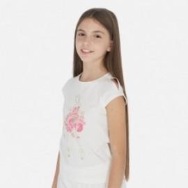 Koszulka z krótkim rękawem dziewczęca Mayoral 6007-18 Kremowy