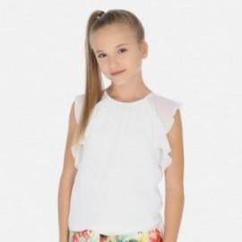 Koszulka z falbankami dziewczęca Mayoral 6014-77 Biały