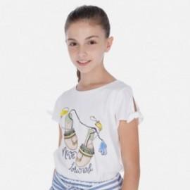Koszulka z krótkim rękawem dziewczęca Mayoral 6018-27 Biały