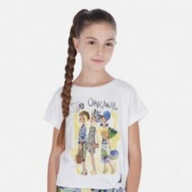 Koszulka z krótkim rękawem dziewczęca Mayoral 6020-14 Biel-żółty