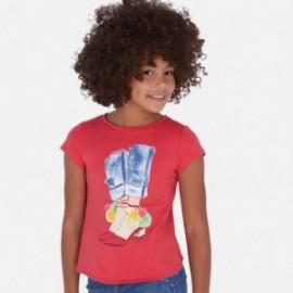 Koszulka z asymetrycznym dołem dziewczęca Mayoral 6021-83 Czerwony