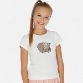 Koszulka z cekinami dla dziewczynki Mayoral 6022-44 Kremowy