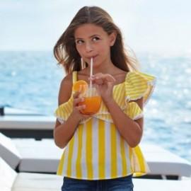 Bluzka w paski dla dziewczyny Mayoral 6168-23 Żółty