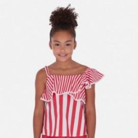 Bluzka w paski dla dziewczyny Mayoral 6168-24 Czerwony