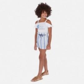 Krótkie spodenki w paski dziewczęce Mayoral 6256-19 Niebieski