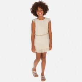 Sukienka plisowana z paskiem dziewczęca Mayoral 6970-2 Beżowy