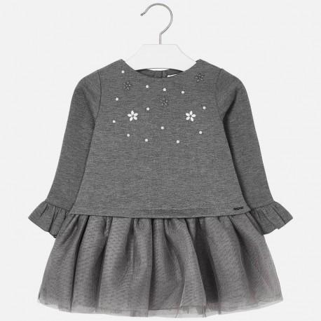 Sukienka łączona dla dziewczynki Mayoral 4934-25 szary