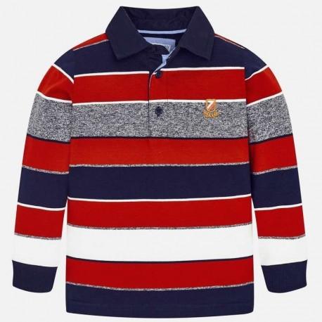 Koszulka polo w paski dla chłopca Mayoral 4114-12 czerwony