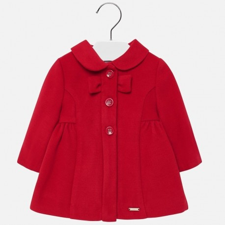 Płaszcz elegancki flauszowy dla dziewczynki Mayoral 2428-86 czerwony