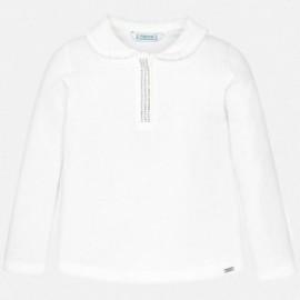 Koszulka polo basic z dżetami dla dziewczynki Mayoral 131-61 Kremowy
