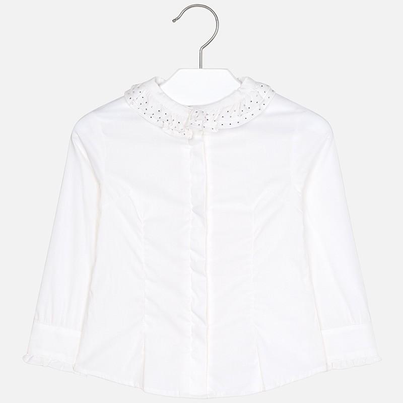 Bluzka popelinowa dla dziewczynki Mayoral 4102-18 krem